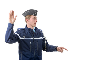 french policeman isolated on the white background