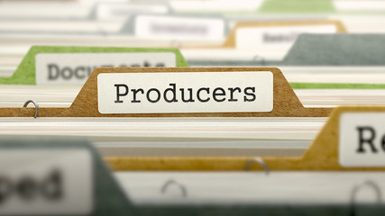 Producers Concept on Folder Register in Multicolor Card Index. Closeup View. Selective Focus. 3d Render.