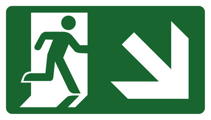 signpost, leave, enter or pass through the door down the right