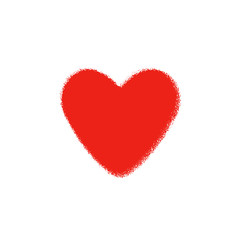 Red heart on a white background. The love and happiness in one symbol. Heart Valentine.