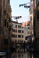 Clothes hanging in the wind in venice, unique show. Italy, venice