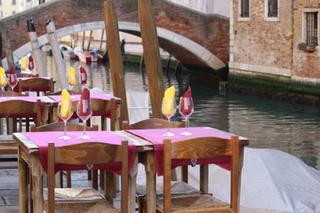 Italy, venice. trendy dining along the canals of the beautiful venice