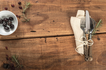 Rustic Wooden Tavern Table With Cutlery and Copy Space
