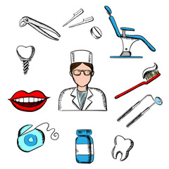 Dentistry medicine with dentist and dental elements