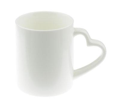 White Ceramic mug white heart shaped handles on white
