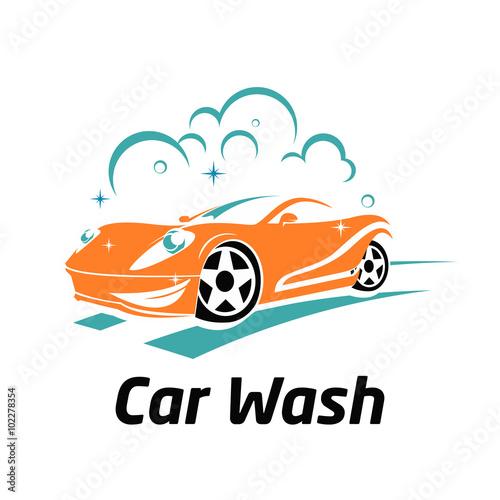 cute car wash cartoon mascot logo template