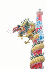 Colorful of Chinese dragon statue on a pole isolated on white ba