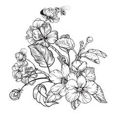 Vintage elegant flowers. Black and white vector illustration. Botany.