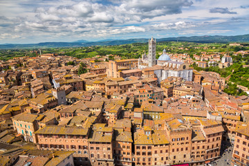 Wall Mural - Aerial view over Siena, Italy