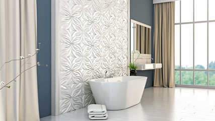 modern bright bathroom 3D render