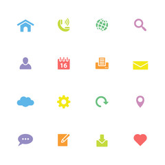 colorful simple flat icon set 1 - for web design, user interface (ui), infographic and mobile application