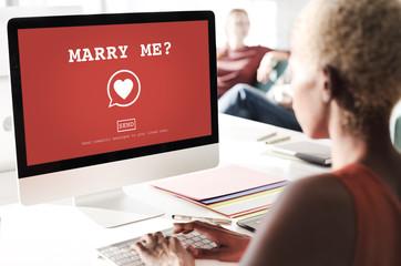 Marry Me? Valantine Romance Heart Love Passion Concept