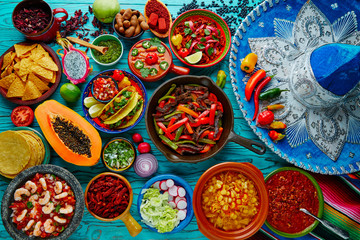 Mexican food mix colorful background Wall mural