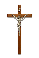 Plain wooden crucifix with silver figure of Christ