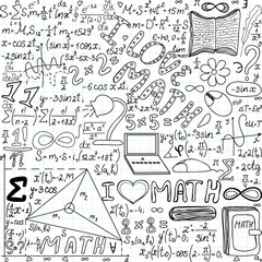"Beautiful vector seamless pattern ""I love math"", ""handwritten on a copybook paper"""