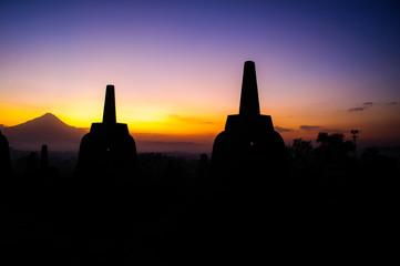 Borobudur sunrise with Merapi volcano, UNESCO World Heritage sit
