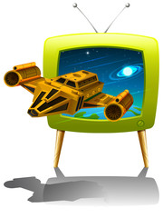 Television screen with spaceship flying in the space