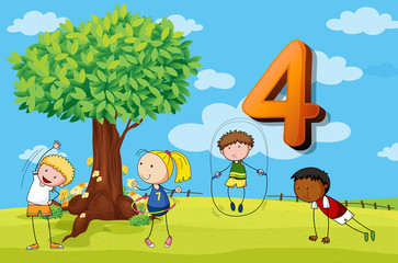 Flashcard number 4 with four children in the park