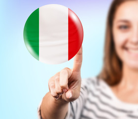 Woman point on the bubble with italian flag