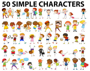 Fifty simple characters doing different activities