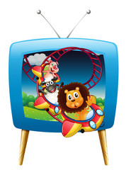 Television screen with animals on the rollercoaster