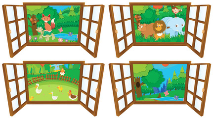 Windows with four views of farm and forest