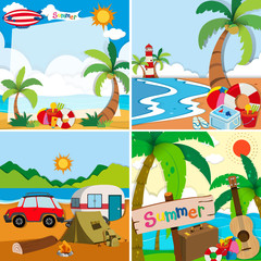 Four scenes of summer vacation on the beach