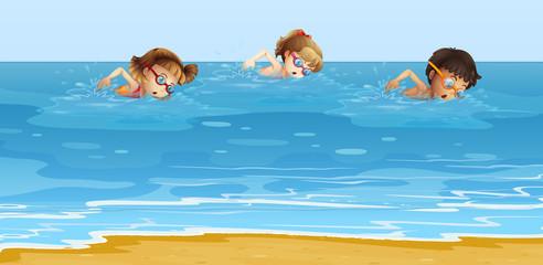 Children swimming in the ocean