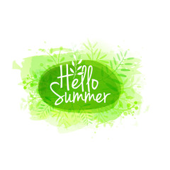 Template design of logo, stamp silhouette Hello, Summer. Watercolor green texture with floral, plant, berry decoration. Vector.