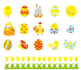 Easter elements collection with easter eggs, basket, cute bunny , tulip, chick , butterfly / vectors set for children