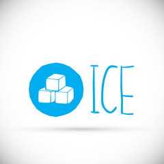 Blue cube logo design icon, vector illustration. Hand drawn