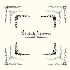Sketch Frame Collection Hand Draw Vintage Set Vector Illustration
