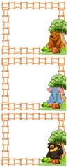 Three frames of wild animals