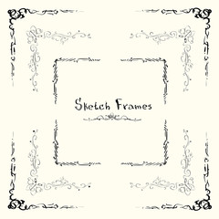 Sketch Frame Collection Hand Draw Vintage Set Vector Illustration