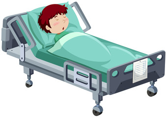 Boy being sick in hospital bed