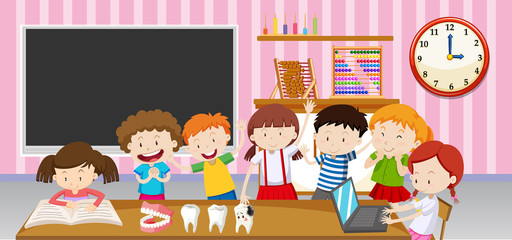 Boys and girls in the classroom