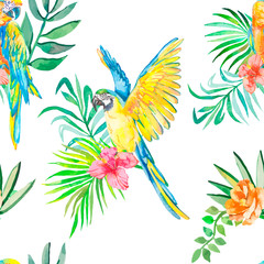 Macaw seamless pattern. Palm leaves and tropical flower, camellias. Tropical parrot. Exotic.