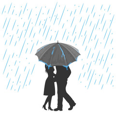 Lovers under an umbrella