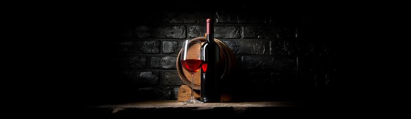 Wine on black bricks