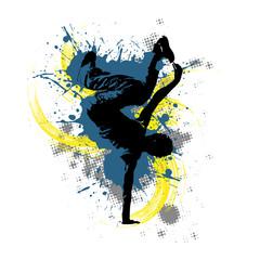 Breakdancer vor buntem Hintergrund