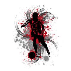 Fußballspieler vor rotem Hintergrund mit Farbspritzern