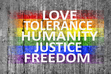 Love, Tolerance, Humanity, Justice, Freedom and LGBT flag painte