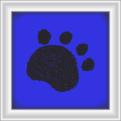 Simple doodle of a paw print