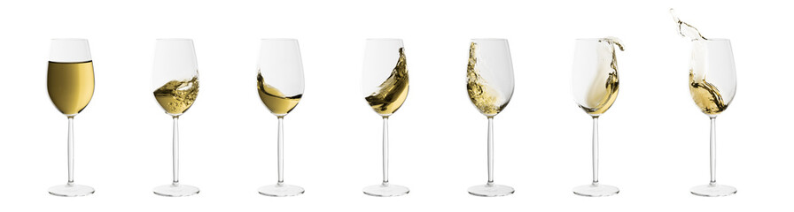 set of wine glasses with splashes of white wine