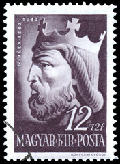 Stamp printed in Hungary shows IV Bela