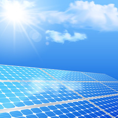 Close up of solar battery, power generation technology. Realisti