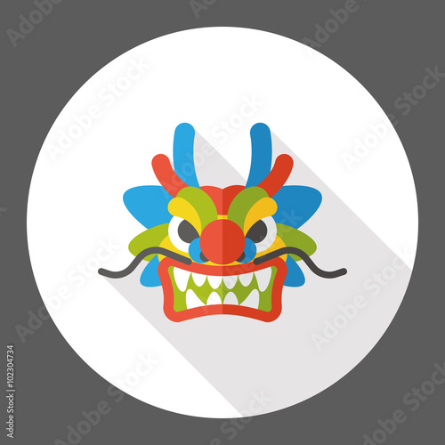Chinese New Year Flat Icon The Dragon And Lion Dancing Head Stock