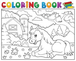 Coloring book horse near farm theme 2