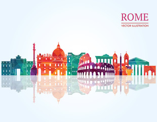 Rome skyline detailed silhouette. Vector illustration