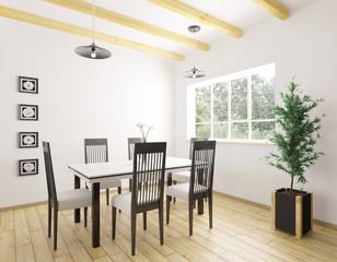 Interior of dining room 3d rendering